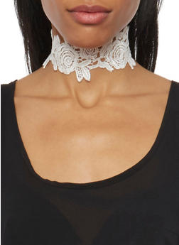 Lace Choker Necklace - WHITE - 1123059639083