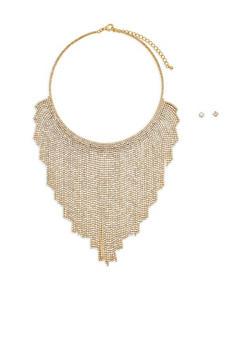 Metallic Rhinestone Bib Necklace with Stud Earrings - 1123059639912
