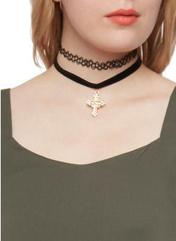 Set of 3 Tattoo Braided and Velvet Cross Charm Chokers - 1123062810965