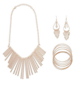 Textured Metallic Stick Necklace with Bangles and Earrings Set - 1123062812161