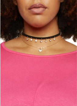 Set of 3 Necklaces and Velvet Choker with Rhinestones - 1123062920179
