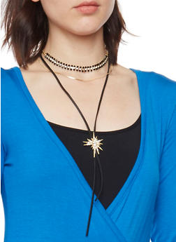 Layered Choker Necklace with Studded Lariat - GOLD - 1123062920993