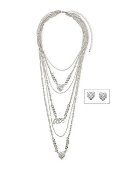 Layered Pendant Necklace with Rhinestone Heart Stud Earrings Set - 1123062921326