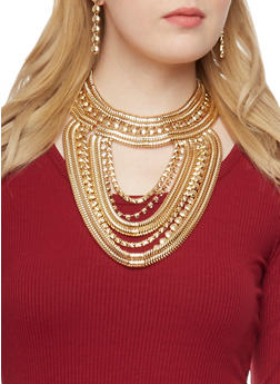 Snake Chain Bib Necklace with Drop Earrings Set - 1123062921769