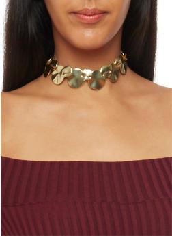 Metallic Geo Choker Necklace - GOLD - 1123062922861