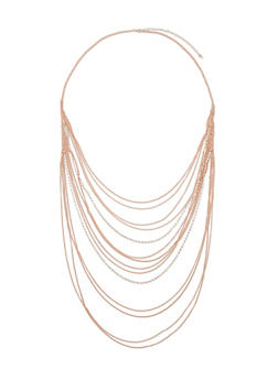 Long Multi Layer Chain and Rhinestone Necklace - 1123062923269
