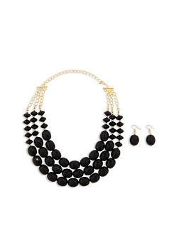 Layered Chunky Bead Necklace with Matching Earrings - 1123062923804