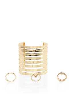 Lasercut Metal Cuff Bracelet with 3 Geo Rings Set - 1123062923890