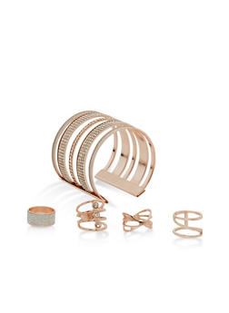 Rhinestone Encrusted Set of 4 Rings and Cuff Bracelet - 1123062923912