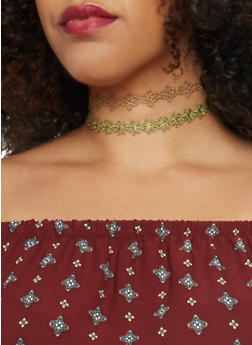 Set of 3 Assorted Floral Crochet Chokers - 1123062925411