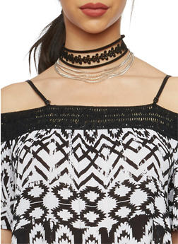 Three Row Multi Strand Choker Necklace - 1123062926440