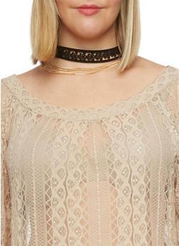 Three Row Multi Strand Choker Necklace - 1123062926440
