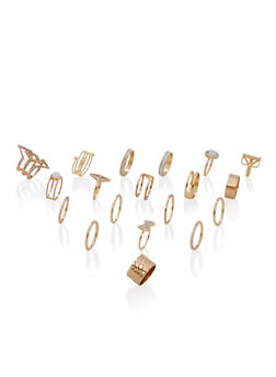 Set of 18 Rhinestone Embellished Rings - 1123062926514