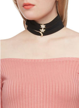 Layered Faux Suede Choker Necklace with Crystal Accents - 1123062926582