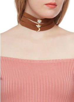 Layered Faux Suede Choker Necklace with Crystal Accents - TAN - 1123062926582