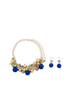 Multi Textured Beaded Necklace and Earrings Set - 1123062926583