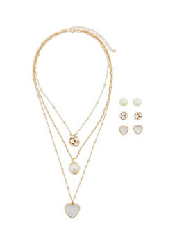 Set of 3 Stud Earrings and Multi Layer Charm Necklace - 1123062927661