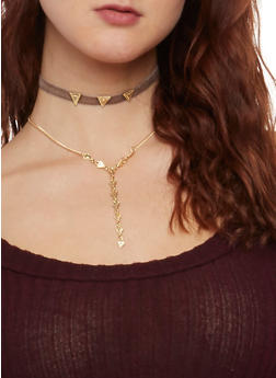 Set of 3 Geo Choker Necklaces - TAUPE - 1123062928640