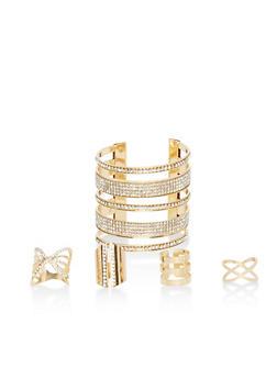 Rhinestone Cuff Bracelet and 4 Geometric Rings - 1123062929313
