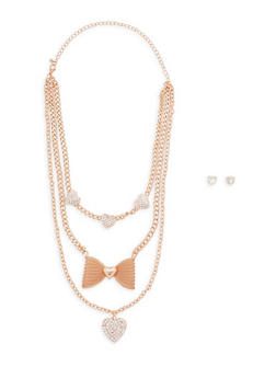 Tiered Rhinestone and Bow Charm Necklace with Stud Earrings - 1123062929505
