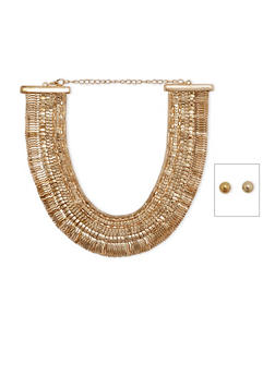 Metallic Mesh Collar Necklace with Stud Earrings - 1123062929535