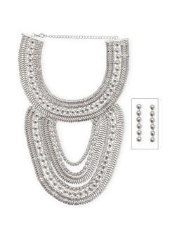 Metallic Bib Collar Necklace with Drop Earrings - 1123062929671