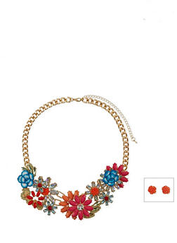 Multicolored Floral Statement Necklace with Rose Stud Earrings - 1123062929678