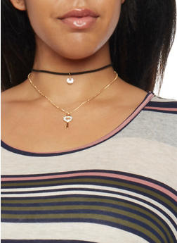 Layered Choker Necklace with Charms - 1123063093659