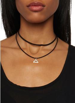 Tiered Choker Necklace with Studded Pendant - 1123063093664