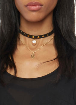 Set of 2 Choker Necklaces with Studs and Pendant - 1123063094862