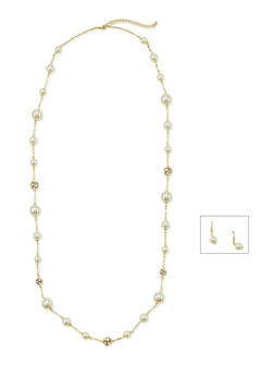 Studded Faux Pearl Necklace with Drop Earrings Set - 1123069754011