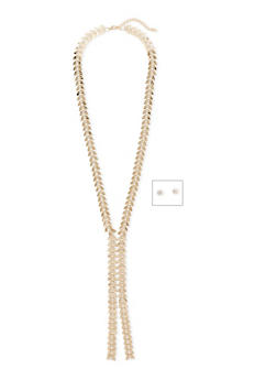 Leaf Chain Necklace with Crystals and Earrings - 1123070430750