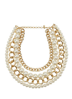 Layered Faux Pearl and Chainlink Necklace - 1123070437002