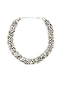 Mesh Braided Rhinestone Necklace - 1123071215388