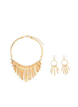 Stick Collar Necklace and Drop Earrings - 1123071431015
