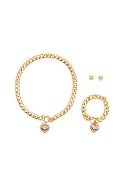 I Love You Charm Necklace with Bracelet and Earrings - 1123071433805