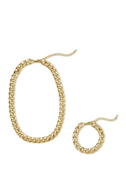 Curb Chain Necklace and Bracelet Set - 1123071434018