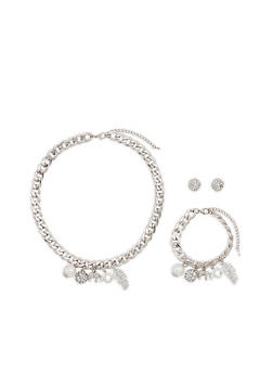 Charm Necklace with Bracelet and Earrings - 1123071435015