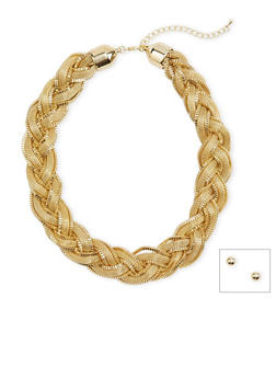 Stud Earrings and Braided Necklace Set - 1123071435081
