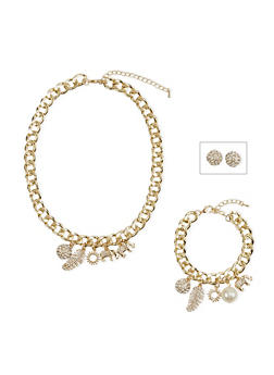 Jewelry Set with Stud Earrings and Chainlink Charm Bracelet with Necklace - 1123071435105
