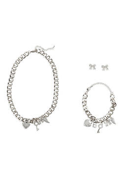 Curb Chain Charm Necklace and Bracelet with Stud Earrings - 1123071435160