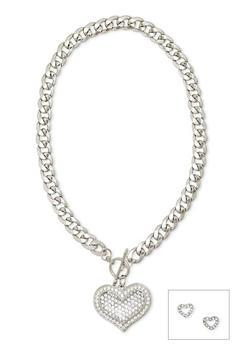 Rhinestone Heart Stud Earrings and Necklace Set - 1123071436582