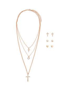 Layered Rhinestone Charm Necklace with Trio of Stud Earrings - 1123071437015