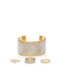 Rhinestone Cuff Bracelet with Rings - 1123071439001