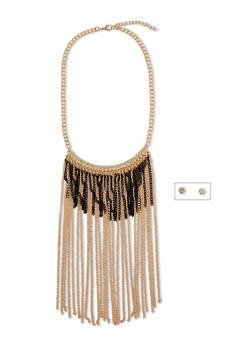 Fringe Necklace Earring Set with Rhinestone Accent - 1123072370736