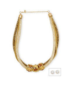 Mesh Chain Necklace with Jeweled Ring Pendants - 1123072371526