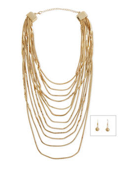 Multi Layered Necklace with Earring Set - 1123072371602