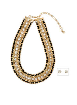 Woven Faux Suede and Metal Chain Necklace with Stud Earrings - 1123072375400