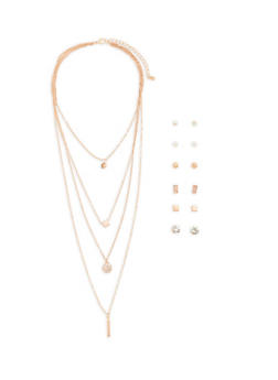 Multi Layer Charm Necklace with Set of 6 Stud Earrings - 1123072690442