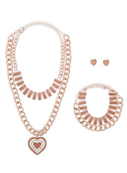 Glitter Heart Chain Necklace with Bracelet and Earrings - 1123072690598